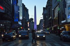 Obelisco Night. City strrer street sunser sunset cars stock photos