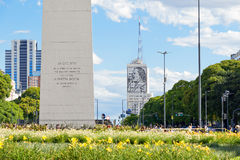 Obelisco (Obelisk), Buenos Aires Argentina. The Obelisk of Buenos Aires was built in 1936 to celebrate the 400th anniversary of the city founding Alberto royalty free stock image