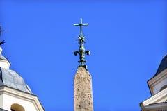 Obelisco Sallustiano Trinita Dei Monti Spanish Steps de los jeroglíficos fotografía de archivo libre de regalías
