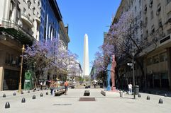 Obelisco spring. Sky blur blue street royalty free stock photography