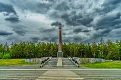 Obelisk auf der Grenze zwischen Europa und Asien Russland 2018 stockfotografie
