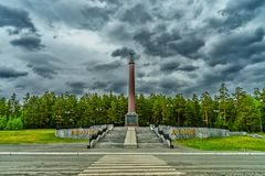 Obelisk on the border between Europe and Asia Russia 2018.  stock photography