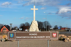 The obelisk in Brzegi near Cracow , where will take place in July 2016 the mass on the occasion of. World Youth Day with the participation of the pope and 2 Royalty Free Stock Photos