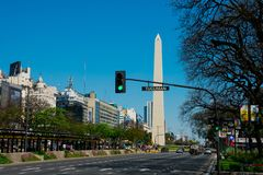 Obelisk of Buenos Aires El Obelisco. July 9 Avenue Avenida 9 de Julio royalty free stock photos