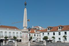 Obelisk in the center of the city center. Obelisk in the city center The center of Vila Real de Santo António was inspired by downtown Lisbon, the geometric Royalty Free Stock Photos