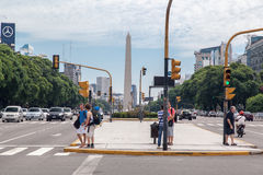 Obelisk e 9 de Julio Avenida em Buenos Aires Foto de Stock Royalty Free