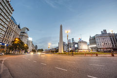 The Obelisk (El Obelisco) in Buenos Aires. BUENOS AIRES, ARGENTINA - APR 12: The Obelisk (El Obelisco), the most recognized landmark in the capital on Apr 12 royalty free stock photo