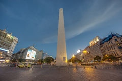 The Obelisk (El Obelisco) in Buenos Aires. BUENOS AIRES, ARGENTINA - APR 09: The Obelisk (El Obelisco), the most recognized landmark in the capital on Apr 09 royalty free stock images
