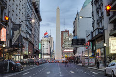 The Obelisk (El Obelisco) in Buenos Aires. BUENOS AIRES, ARGENTINA - APR 09: The Obelisk (El Obelisco), the most recognized landmark in the capital on Apr 09 royalty free stock photography