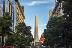 The Obelisk (El Obelisco) in Buenos Aires. BUENOS AIRES, ARGENTINA - APR 09: The Obelisk (El Obelisco), the most recognized landmark in the capital on Apr 09 royalty free stock image