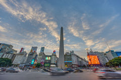 The Obelisk (El Obelisco) in Buenos Aires. BUENOS AIRES, ARGENTINA - APR 12: The Obelisk (El Obelisco), the most recognized landmark in the capital on Apr 12 royalty free stock photos