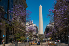 The Obelisk (El Obelisco). BUENOS AIRES, ARGENTINA - 02 DEC: The Obelisk (El Obelisco), the most recognized landmark in the capital on Dec 02, 2015 in Buenos stock photos