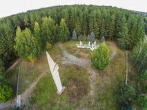 The obelisk at the entrance to the settlement Maksatikha. Shooting with the bird`s eye view of Maksatikhinskiy district of Tver region Stock Images