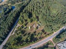 The obelisk at the entrance to the settlement Maksatikha. Shooting with the bird`s eye view of Maksatikhinskiy district of Tver region Stock Photography
