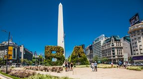The Obelisk is the icon of Buenos Aires in the Plaza de la Republica built in 1936. Argentina. Buenos Aires Argentina - Dec 25, 2018: The Obelisk at Plaza de la royalty free stock photos
