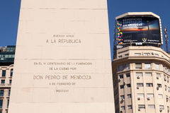 The Obelisk and Inscription, Buenos Aires Stock Image