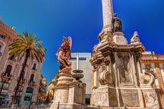 The obelisk-like Colonna dell Immacolata in the square San Domenico in Palermo, Sicily, Italy. Stock Photo