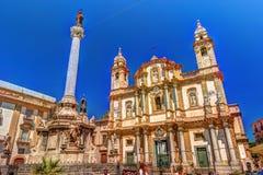 The obelisk-like Colonna dell Immacolata in the square San Domenico in Palermo, Sicily, Italy. Stock Image