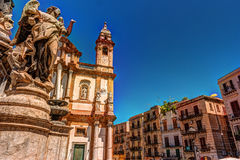 The obelisk-like Colonna dell Immacolata in the square San Domenico in Palermo, Sicily, Italy. The obelisk-like Colonna dell Immacolata, Immaculate Virgin with Stock Photos