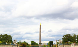 Obelisk of Luxor and arc de triomphe in Paris. France Stock Image