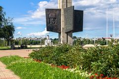 TVER, RUSSIA, JULY, 19.2017: Fragment of the Victory Obelisk in Tver city, devoted for the fallen soldiers of the World War II. The Obelisk is a 45 meters high Stock Photos