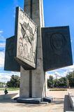 TVER, RUSSIA, JULY, 19.2017: Fragment of the Victory Obelisk in Tver city, devoted for the fallen soldiers of the World War II. The Obelisk is a 45 meters high Royalty Free Stock Photos