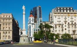 Obelisk och aveny 9 de Julio Arkivbilder