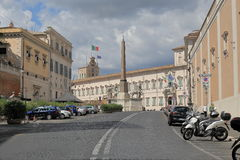 Obelisk and parked vehicles in Piazza del Quirinale in Rome Royalty Free Stock Image