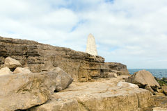 Obelisk Portland Bill Isle of Portland Dorset England UK south of the island warns ships of danger Stock Photo
