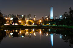 Obelisk Sao Paulo. Night view of the Obelisk of Sao Paulo Ibirapuera park Stock Photo