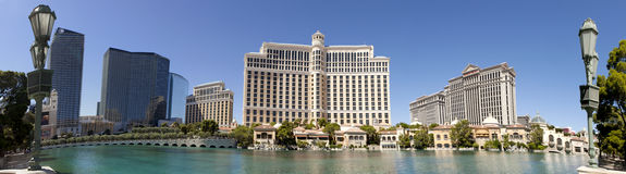 The Bellagio Casino and Hotel in Las Vegas, Nevada. Panoramic view of the Bellagio Casino and Hotel in Las Vegas, Nevada. The lake infront of the hotel has more Royalty Free Stock Image