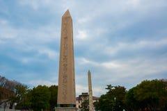 Obelisk Theodosius, antyczny Egipski obelisk w hipodromu Constantinople Sultanahmet kwadrat Istanbuł, Turcja fotografia stock