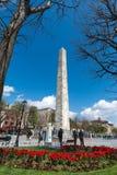 Obelisk Theodosius Egipski obelisk blisko Błękitnego meczetu Zdjęcie Stock