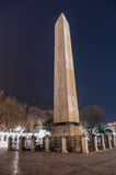 The Obelisk of Theodosius During Nighttime. The Egyptian obelisk of Pharaoh Tuthmosis III in Istanbul - Hippodrome Square, re-erected by the Roman emperor Stock Image