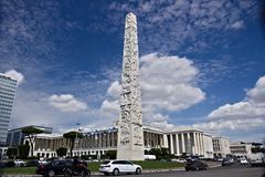 Obelisk to Gugliermo Marconi placed in Rome Eur. Obelisk to Gugliermo Marcon. Rome Eur, Italy. 05/03/2019. The stele was created by the Carrarese sculptor Arturo royalty free stock photography