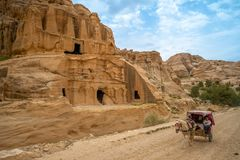 Obelisk Tomb, Nabatean monument in petra, jordan. The Obelisk Tomb, a major Nabatean monument from the 1st century AD has four pyramidal obelisks and a carved stock photo