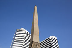 Obelisk and two modern buildings on Plaza Francia royalty free stock photo