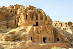 Obeliskgravvalv i Petra, Jordanien Arkivbild