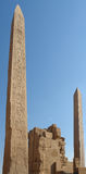 Obelisks at the Precinct of Amun-Re. Sunny illuminated scenery showing 2 obelisks at the Precinct of Amun-Re in Egypt (Africa Royalty Free Stock Photography
