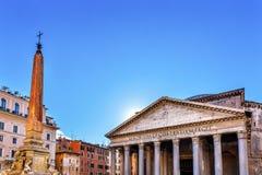 Obelisku Della Porta fontanny panteonu piazza rotunda Rzym Włochy Obraz Royalty Free