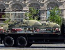 Obemannat flyg- medel Katran på röd fyrkant under ståta som är hängiven till Victory Day Arkivbilder