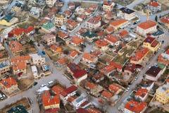 Obenliegende Ansicht der Stadt in Cappadoccia Stockfotografie