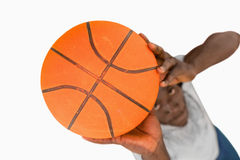 Obenliegende Ansicht des Basketball-Spielers Stockfotografie