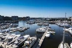 Obenliegende Ansicht von Ipswich-Hafen im Suffolk England Stockfoto