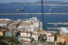 Obenliegende Gondel bei Gibraltar stockfoto