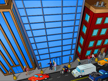 Obenliegende Stadtstraßenszene Stockfotos