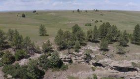 Obenliegende Vogelperspektive der Felsenschluchtwand und des grünen Feldes stock video