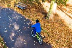 Obenliegendes Foto eines Jungen fährt Fahrrad im Herbstpark Lizenzfreies Stockbild