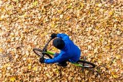 Obenliegendes Foto eines Jungen fährt Fahrrad im Herbstpark Lizenzfreies Stockfoto