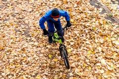 Obenliegendes Foto eines Jungen fährt Fahrrad im Herbstpark Stockbild